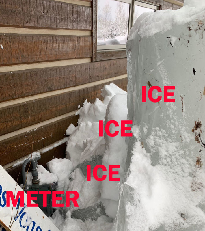 Image of iced up meter with annotations