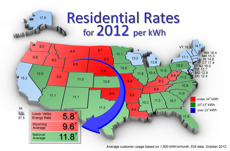 Residential Rates for 2012 per kWh detailed graphic of all 50 states